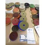 """LOT OF (175) ASSORTED 4"""" GRINDING/POLISHING PADS *SEE PICTURES FOR COMPLETE QUANTITY PER GRIT*"""