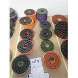 """LOT OF (61) ASSORTED 5"""" GRINDING/POLISHING PADS *SEE PICTURES FOR COMPLETE QUANTITY PER GRIT*"""