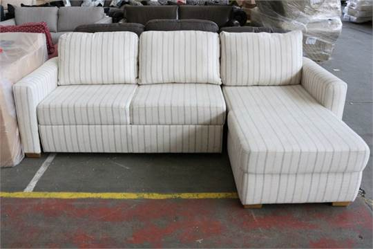 size 40 c95d7 f69f4 1 x CREAM AND BLUE FABRIC UPHOLSTERED STRIPED CORNER SOFA ...