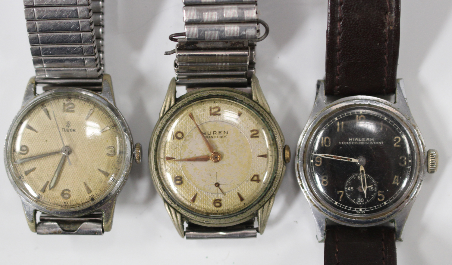 Lot 1051 - A Tudor chrome plated metal fronted and steel backed gentleman's wristwatch, the signed silvered