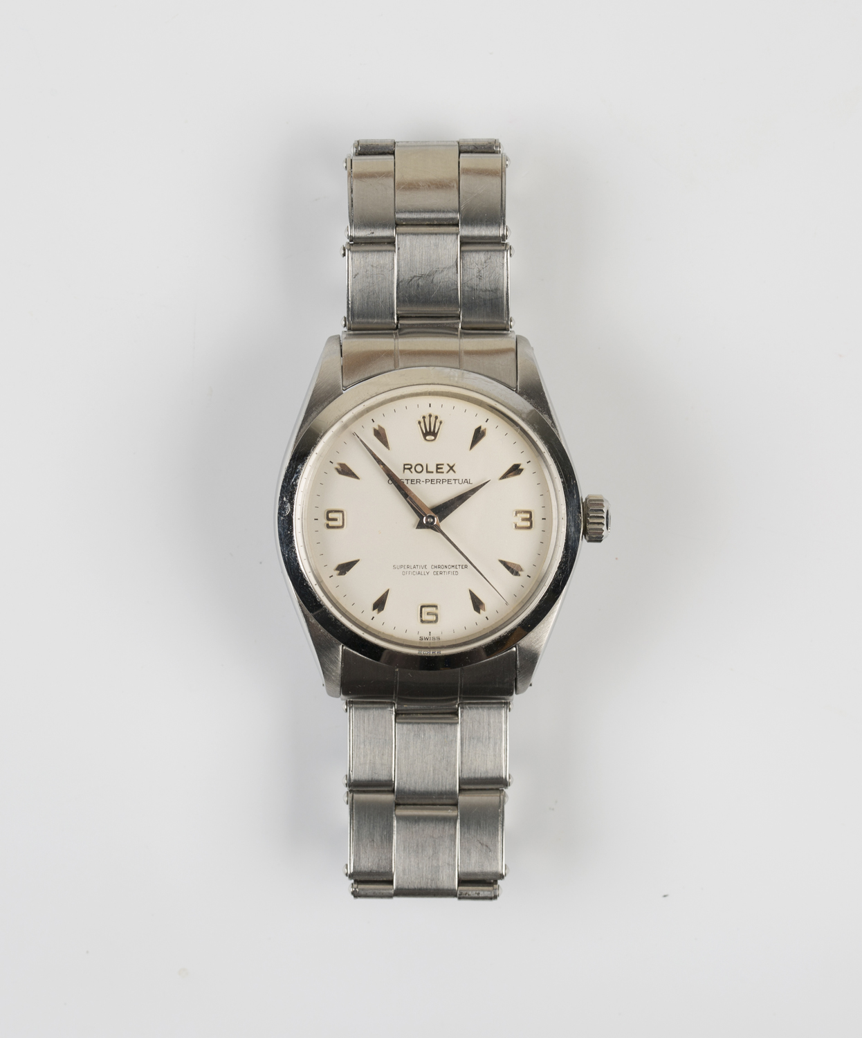 Lot 1020 - A Rolex Oyster-Perpetual steel gentleman's bracelet wristwatch, the signed silvered dial with