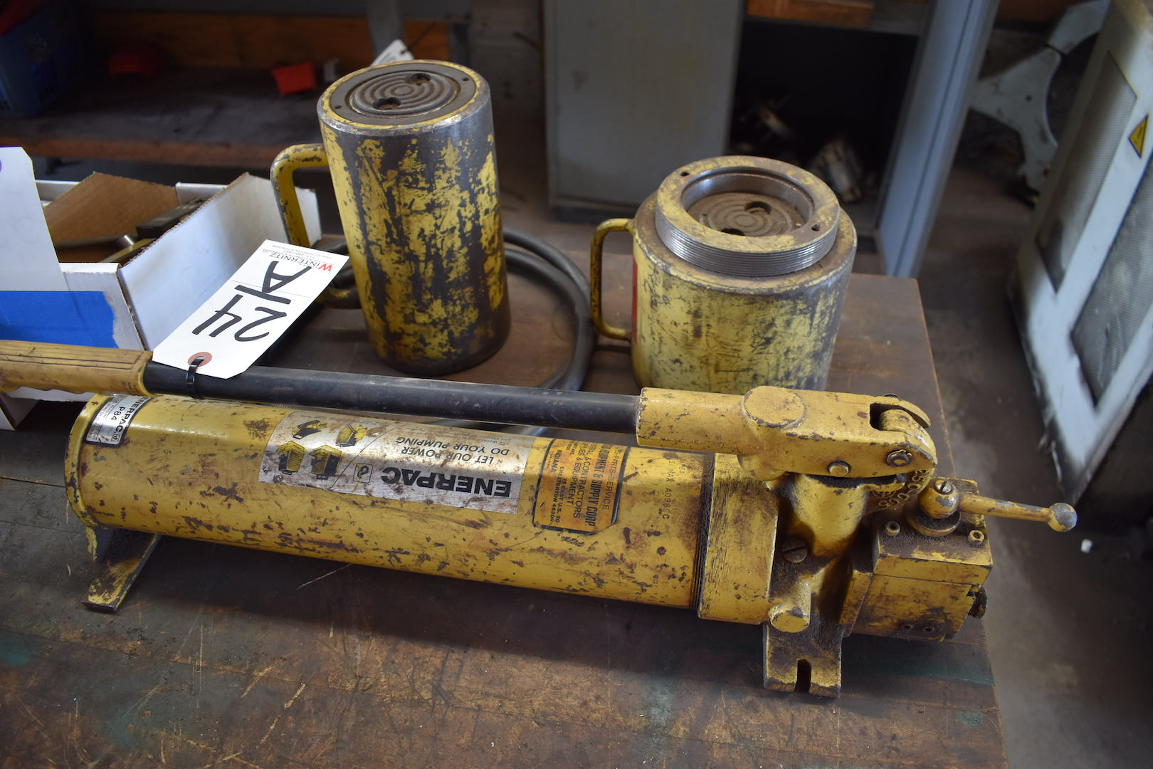 Lot 24A - Enerpac Model P-84 Hydraulic Power Pack with (2) Cylinders