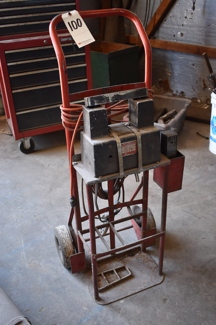Lot 100 - 2-Wheel Hand Truck with Reco Model SC Induction Bearing Heater