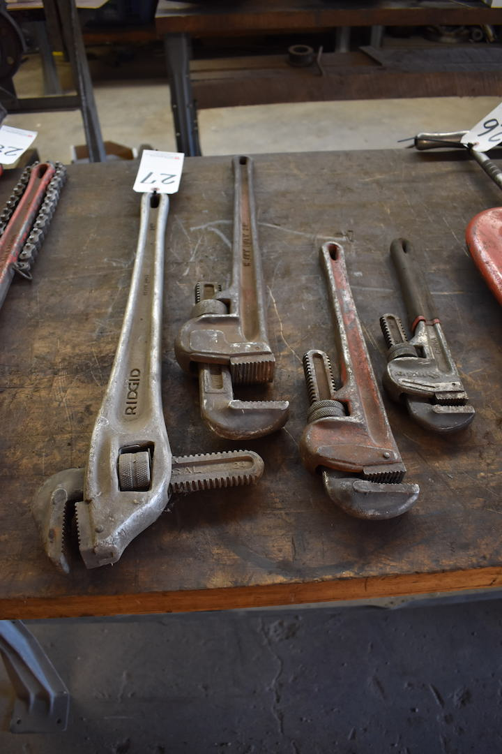 Lot 27 - LOT: (4) Assorted Pipe Wrenches