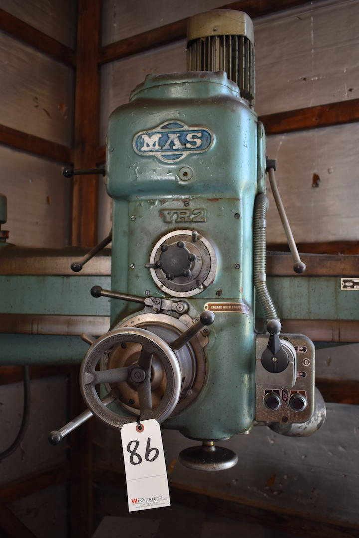 Lot 86 - MAS 9 in. Column x 36 in. Arm (approx.) Model VR2 Radial Arm Drill, S/N 4017 (1974), 1.5 kw, 220