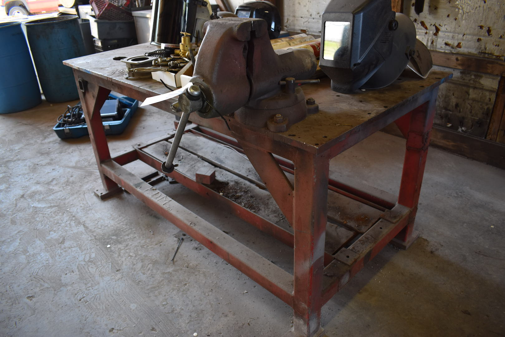 Lot 70 - 36 in. x 70 in. Steel Welding Table with Wilton 5 in. Bench Vise
