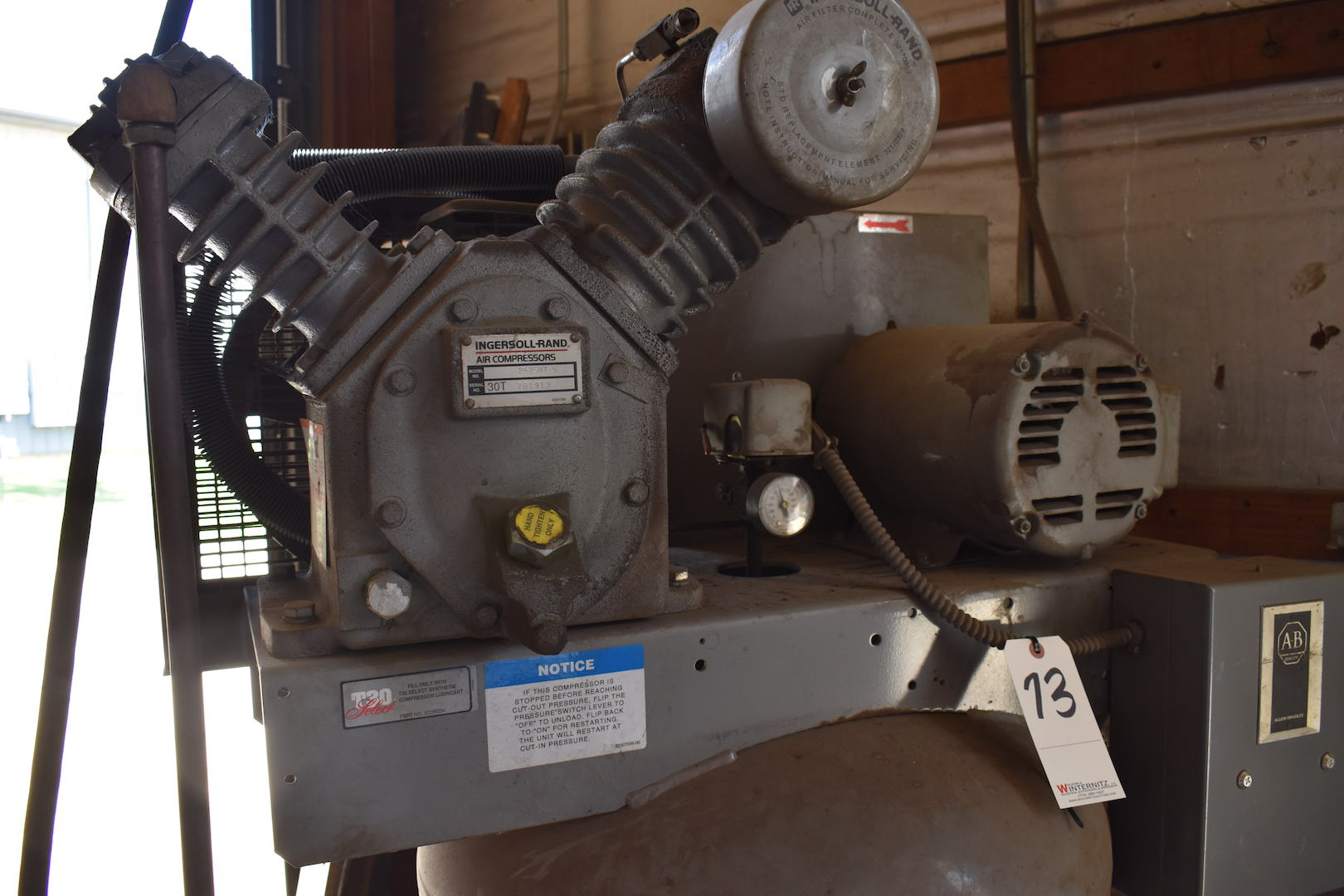 Lot 73 - Ingersoll Rand 7.5 HP Model T-30 Vertical Tank Mounted Air Compressor, S/N 30T781913, 230/460 Volt