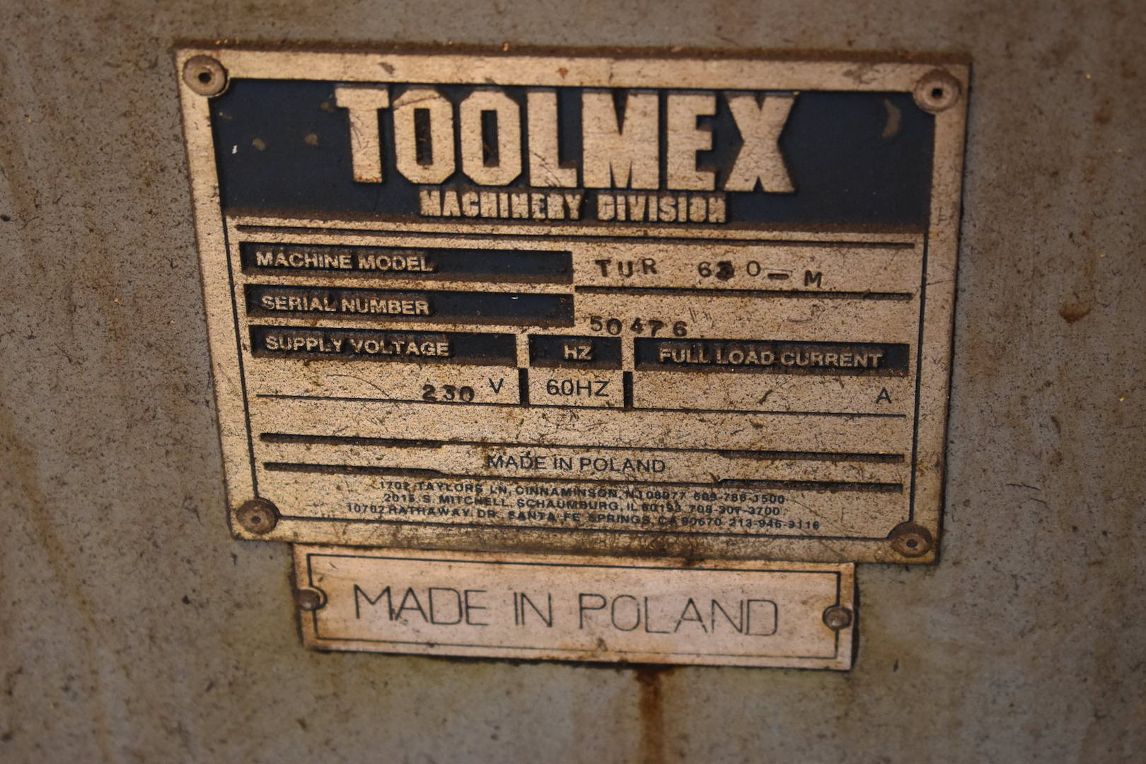 Lot 89 - Toolmex 24 in. x 120 in. (approx.) Model TUR630M Engine Lathe, S/N 50476 (approx. 1997), Motorized