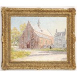 Lot 37 - Leo Van Der Smissen 1900-1966 Belgian, 'A L'Eglise' (Going to Church), oil on canvas, signed lower