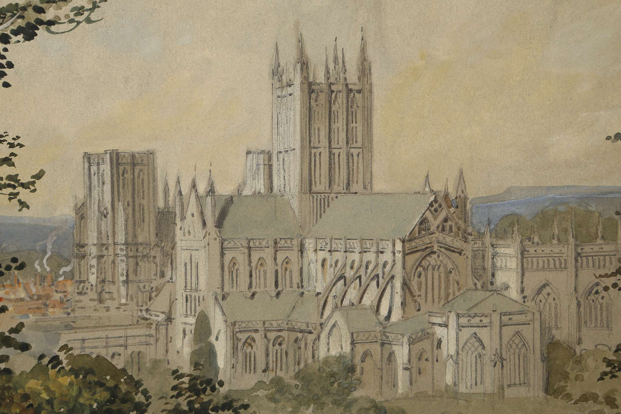Lot 38 - 20th Century British, c.1920, 'Wells Cathedral', watercolour and gouache, signed indistinctly