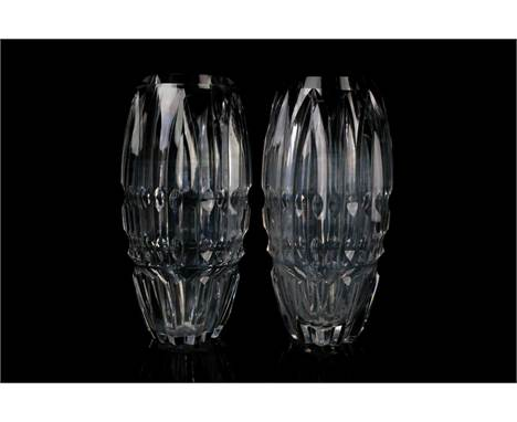 A pair of Waterford Crystal glass vases, of faceted narrow ovoid form, 26 cm.Qty: 2Condition report: No chips, cracks or repa