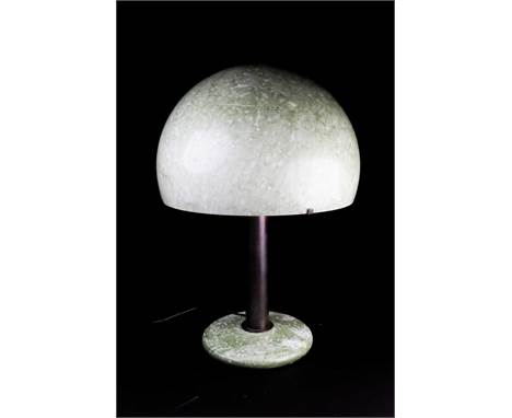 An Italian Modernist style bronze and mottled green glass table lamp, with domed shade, 58 cm high.Condition report: No chips