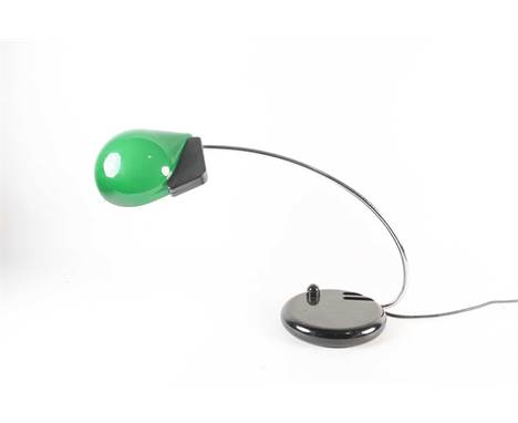 A modern Italian desk lamp, with curved chrome arm supporting a green opaline glass shade, 40 cm x 66 cm wide.