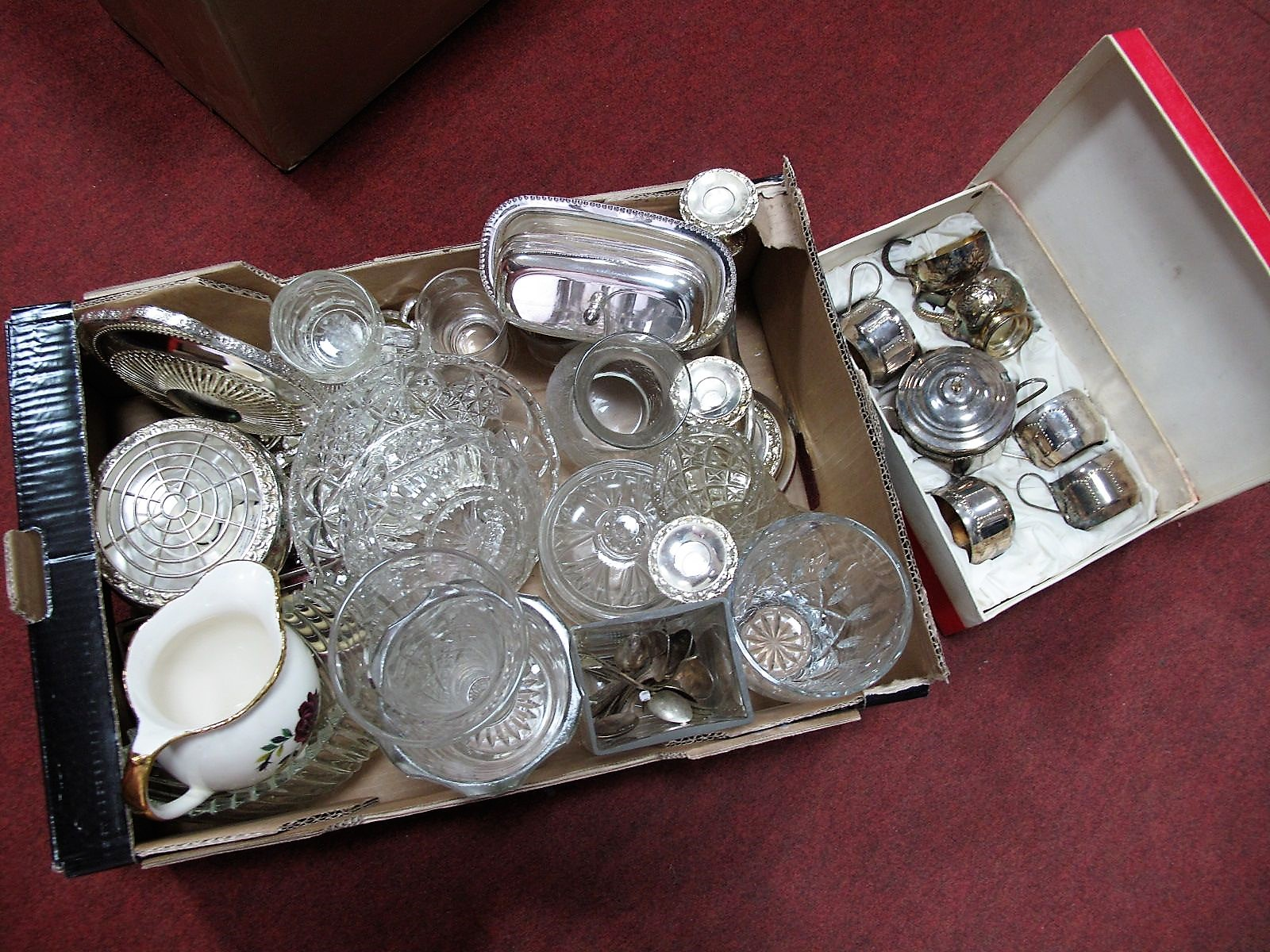 Lot 30 - A Plated Butter Dish, plated posy bowl, cut glass bowl, etc:- One Tray