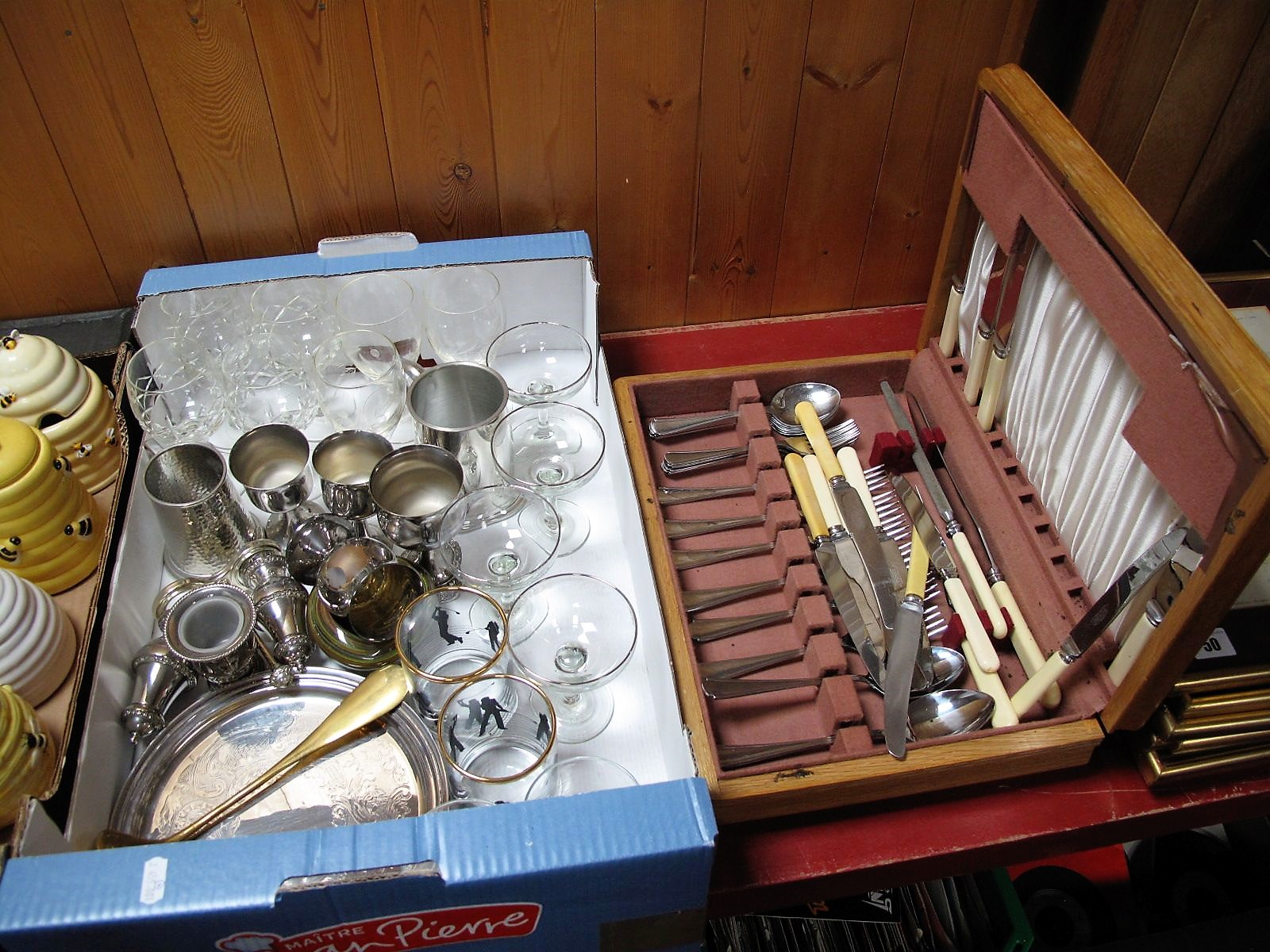Lot 49 - A Swirl Glass Ashtray, drinking glasses, plated salver, goblets, brass shoe horn as a golf club,