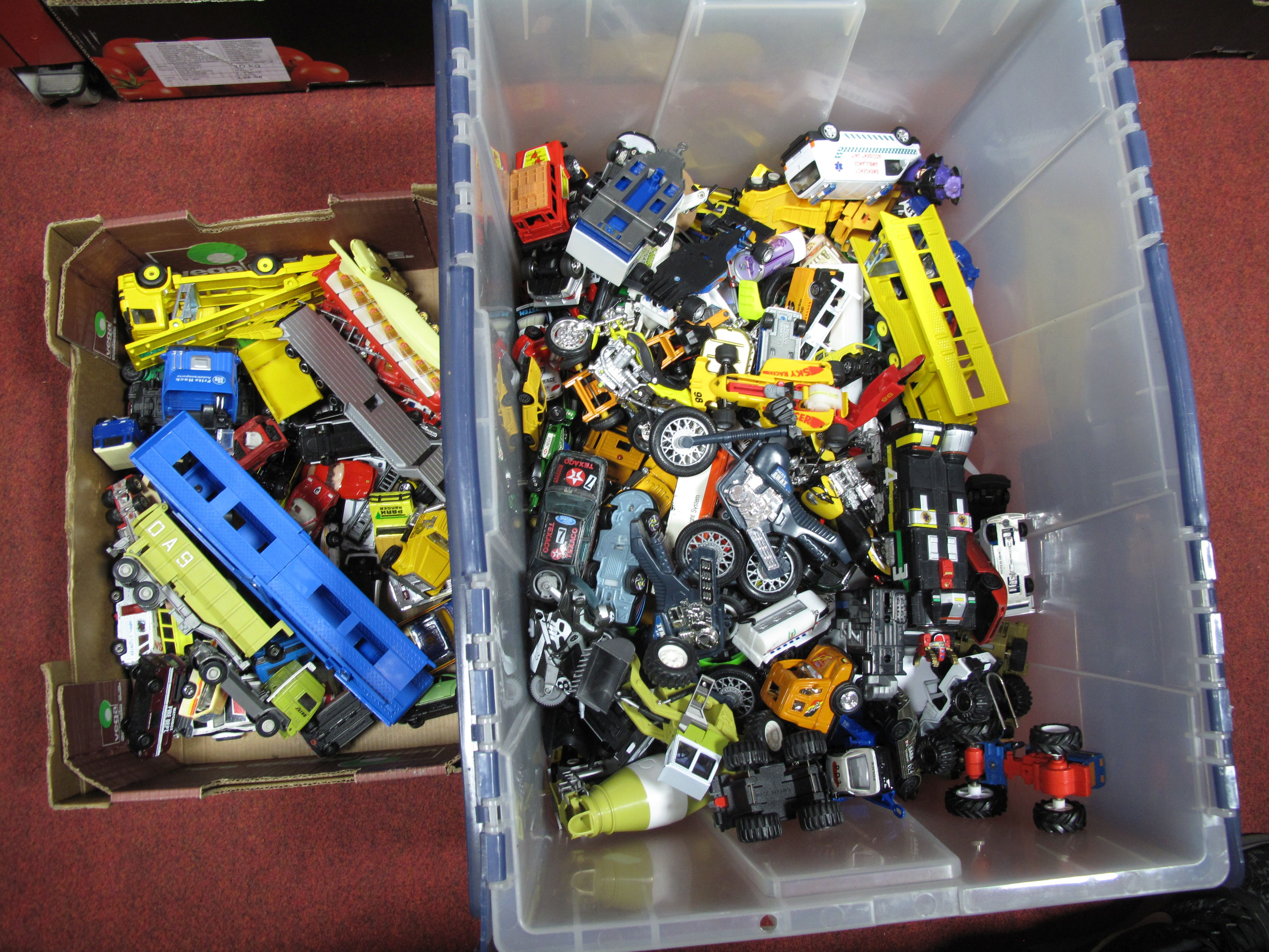 Lot 18 - A Quantity of Playworn Diecast and Plastic Vehicles, including car transporters, emergency vehicles,