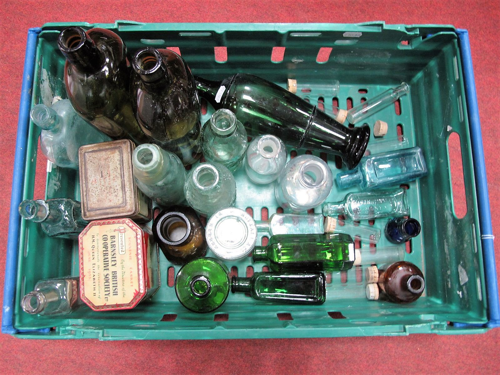 Lot 28 - Barnsley Co-op and Teetgen's Tins, quantity of glass bottles, including chemists example:- One Box