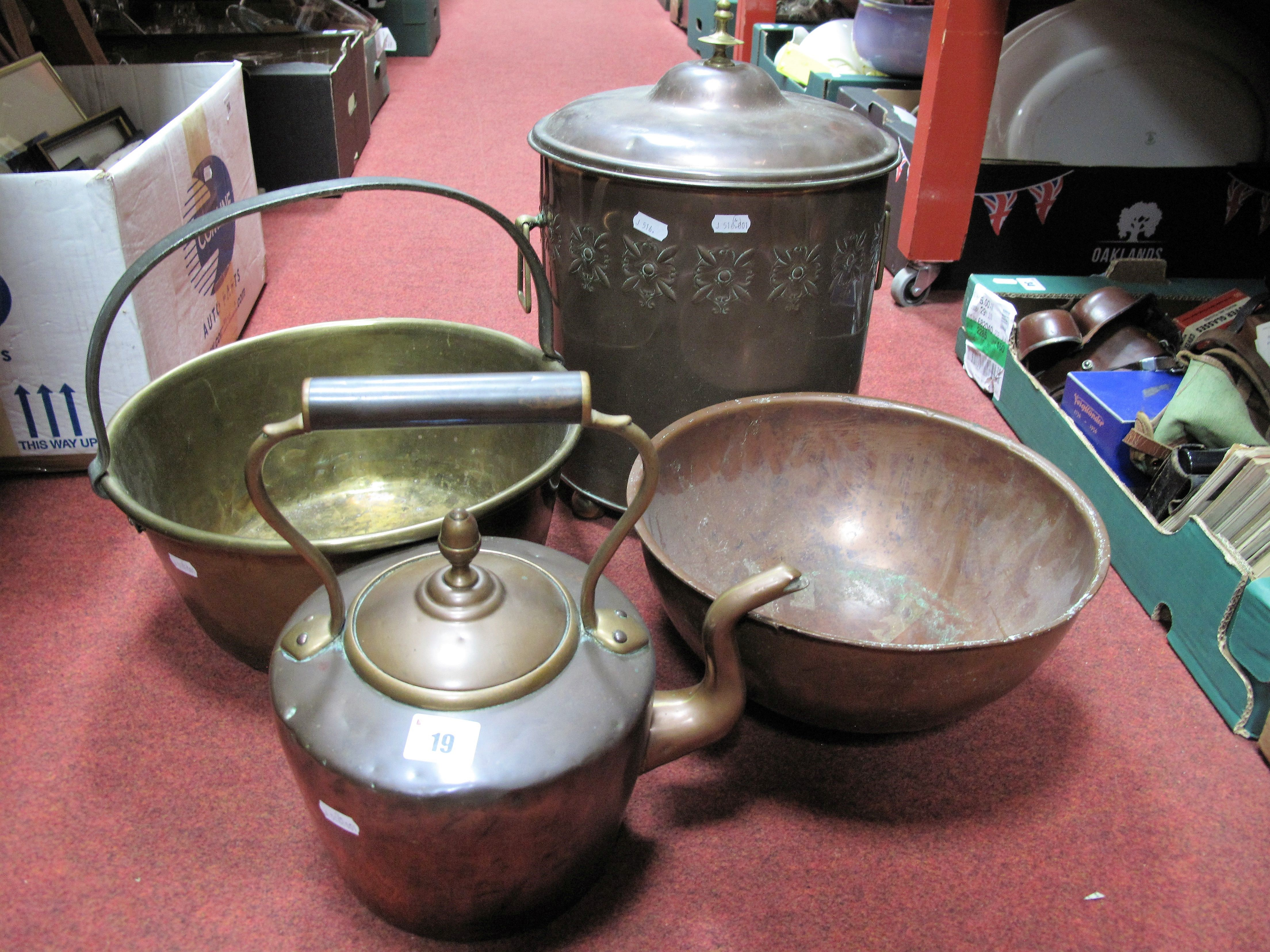 Lot 19 - A Copper and Brass Log Bucket, kettle, bowl, brass jam pan having iron loop handle. (4)