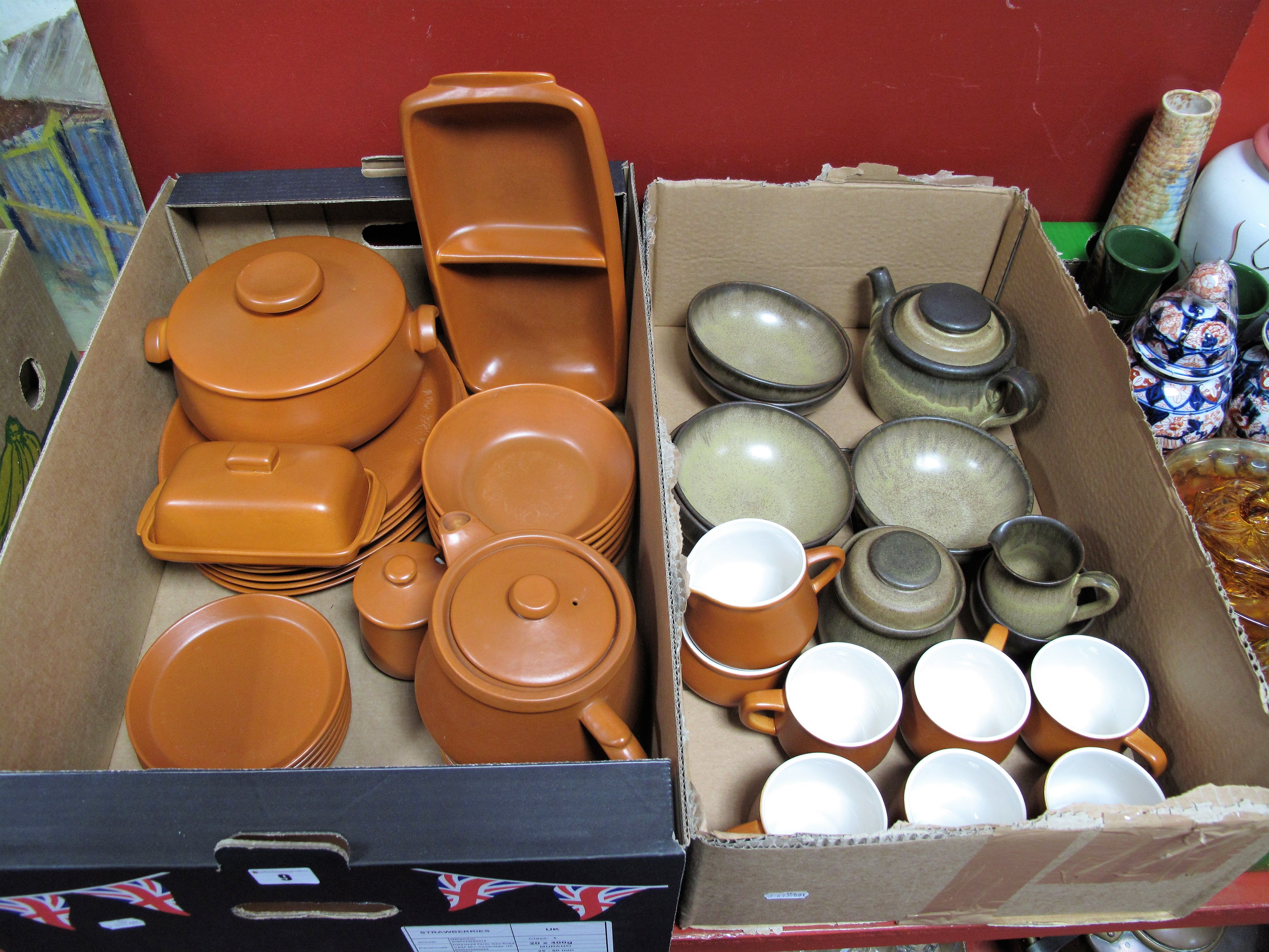 "Lot 9 - Denby ""Romany"" Table Ware, of nine pieces, including teapot, Honiton pottery terracotta coloured"