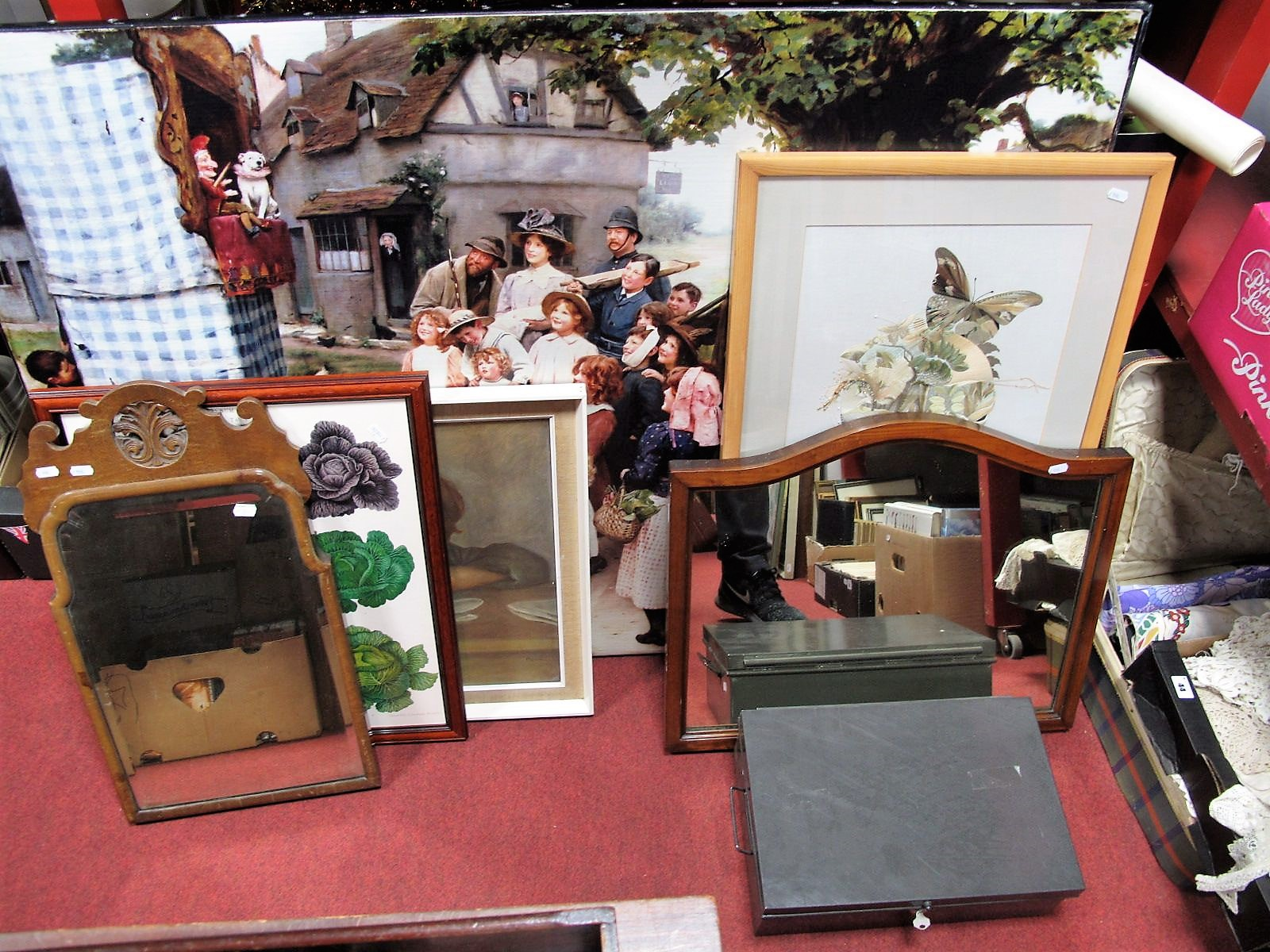 Lot 40 - A Large Punch and Judy Print, two others smaller, two mirrors, butterfly embroidery, cash box.