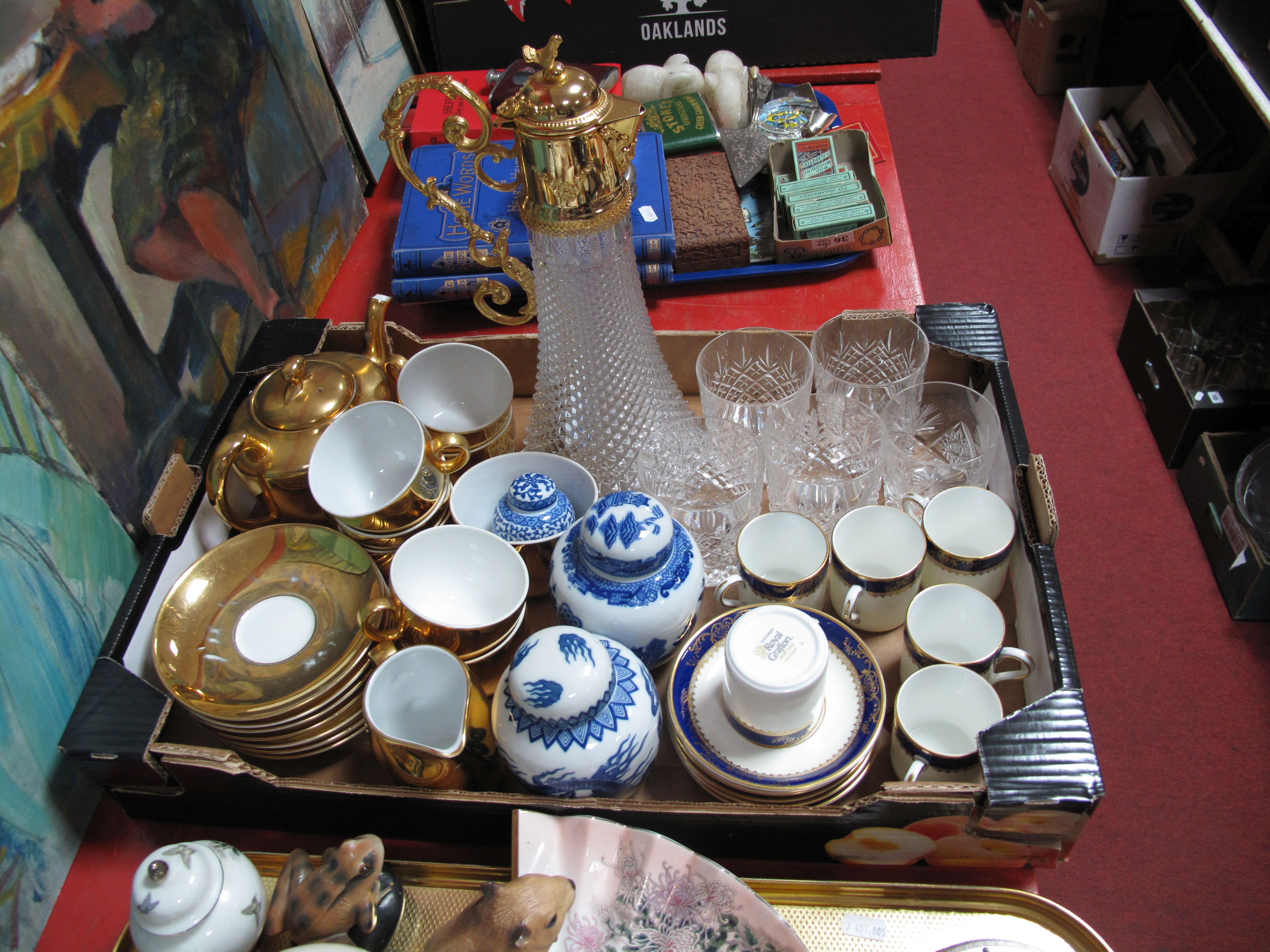 Lot 5 - A Claret Jug, Worcester oven proof table ware, Grafton 'Viceroy' coffee set, ginger jar, etc:- One