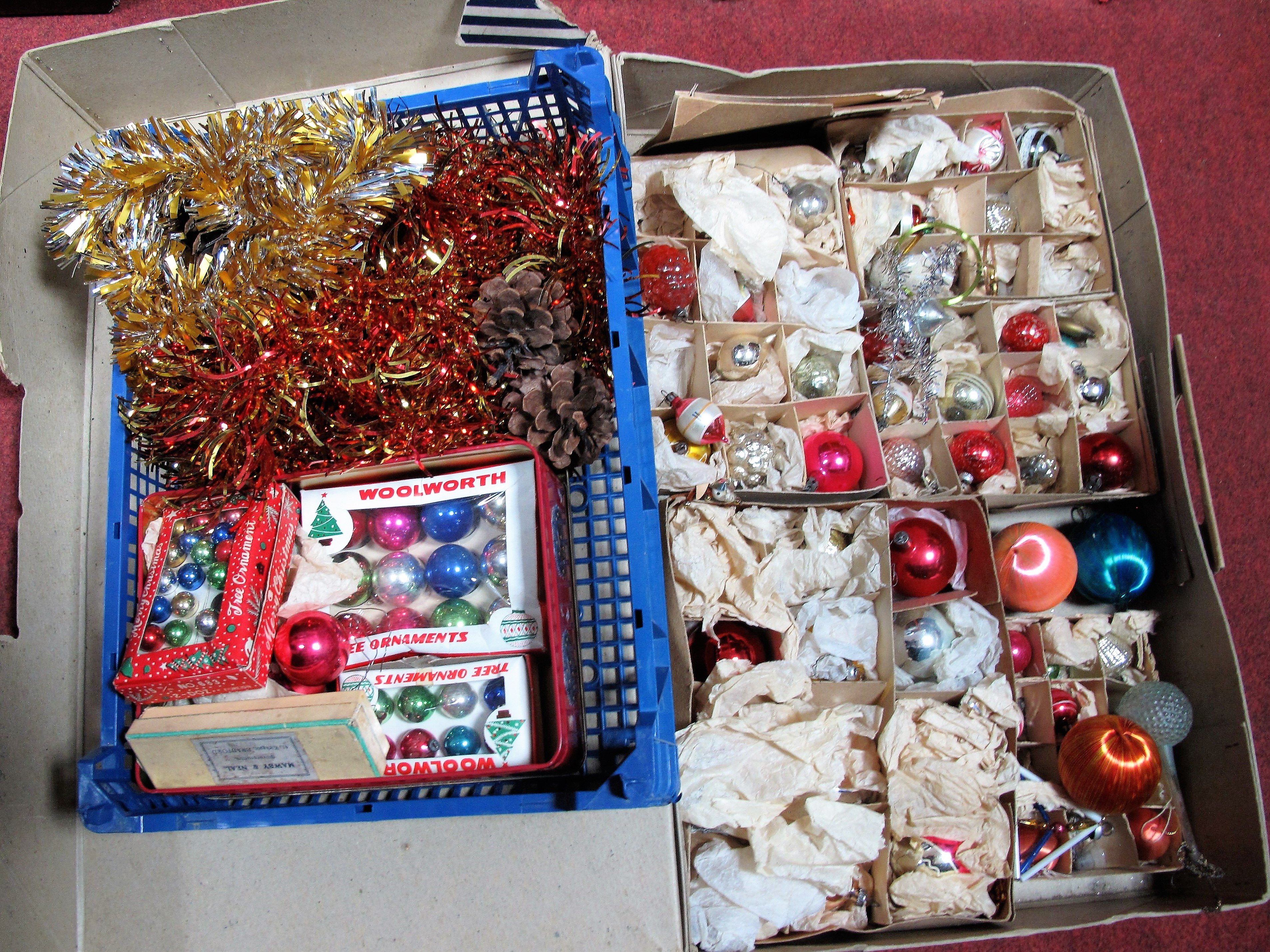 Lot 16 - Christmas Ornaments, 1950's and later, to include boxed Woolworths examples.