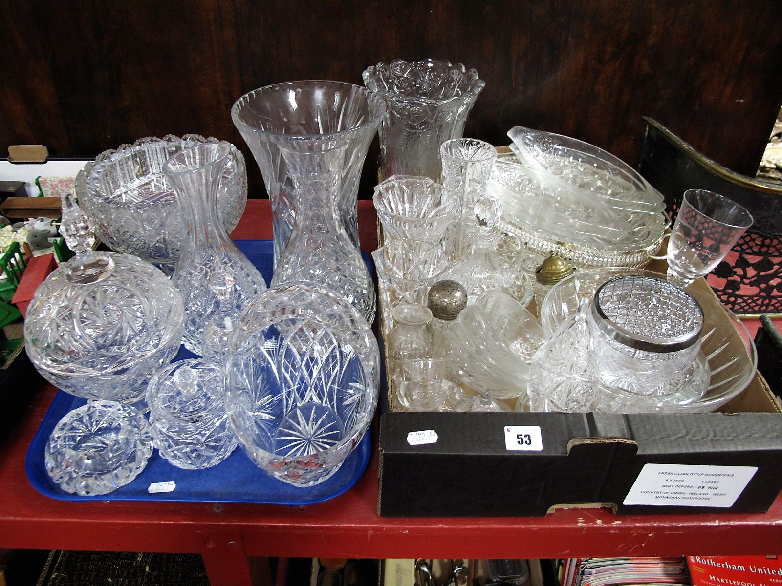 Lot 53 - A Lead Crystal Basket, vases, decanters, dish and cover, pedestal bowl, and other glassware:- One