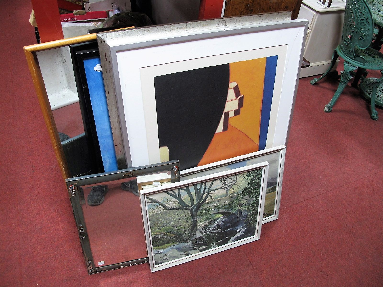 Lot 60 - Frank Sinatra Poster Print, two others, two oils, two mirrors. (7)