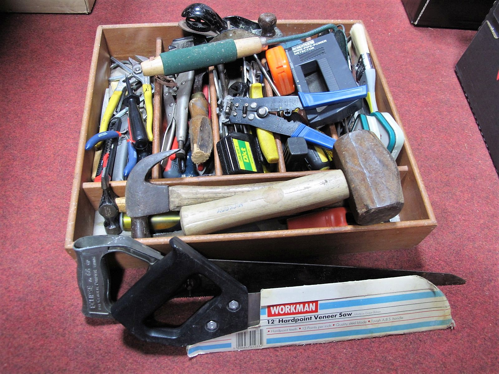 Lot 27 - Hand Tools, including woodworking and electrical tools, in sectional wooden box.
