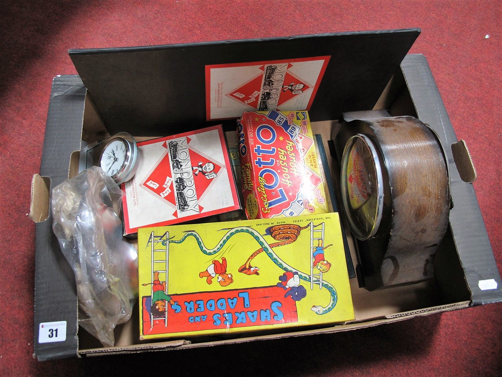 Lot 31 - Monopoly, Lotto, and Other Games, Smiths Westminster Chimes Mantel clock, etc:- One Box