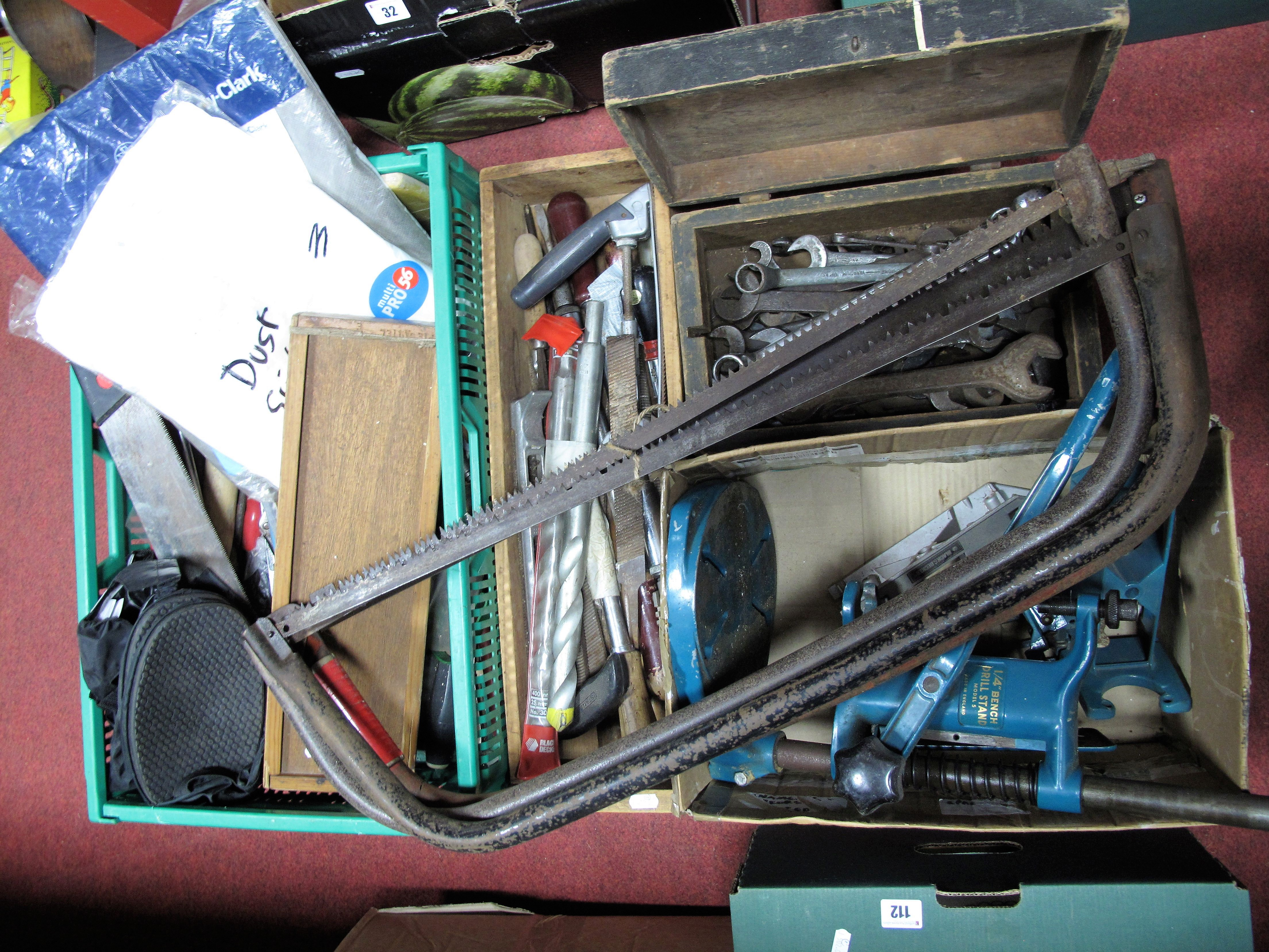 Lot 25 - Saws, spanners, pliers, drill bits, dust suits, etc.