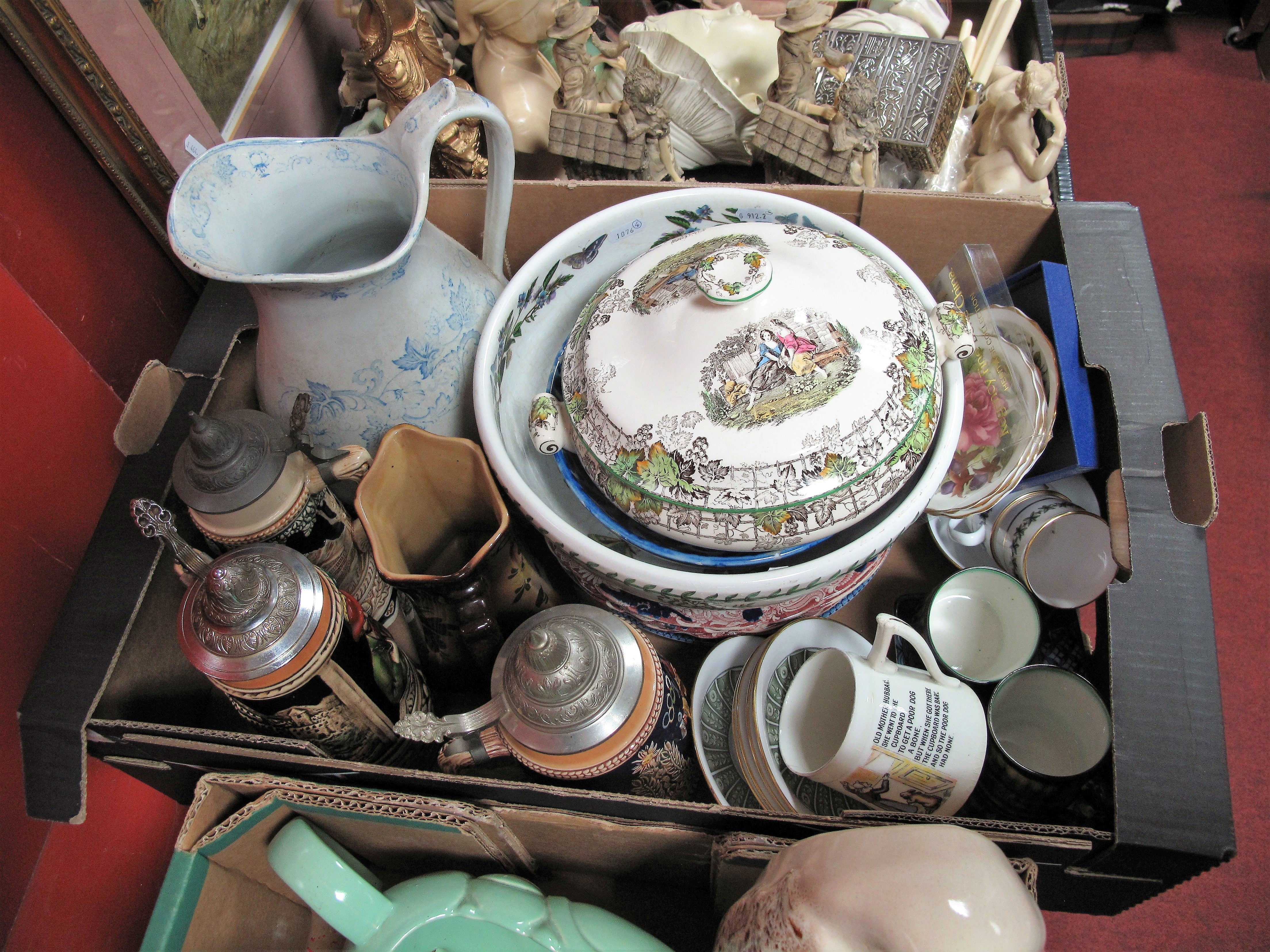 Lot 11 - Musical Tankards, wash jug, Spode tureen, other ceramics:- One Box
