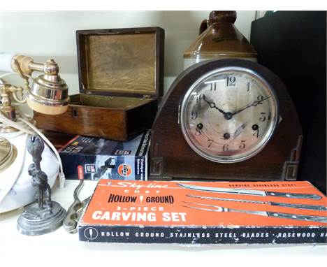 A quantity of collectables including hallmarked silver mounted whisky noggin, three train mantel clock, cased plated cutlery,