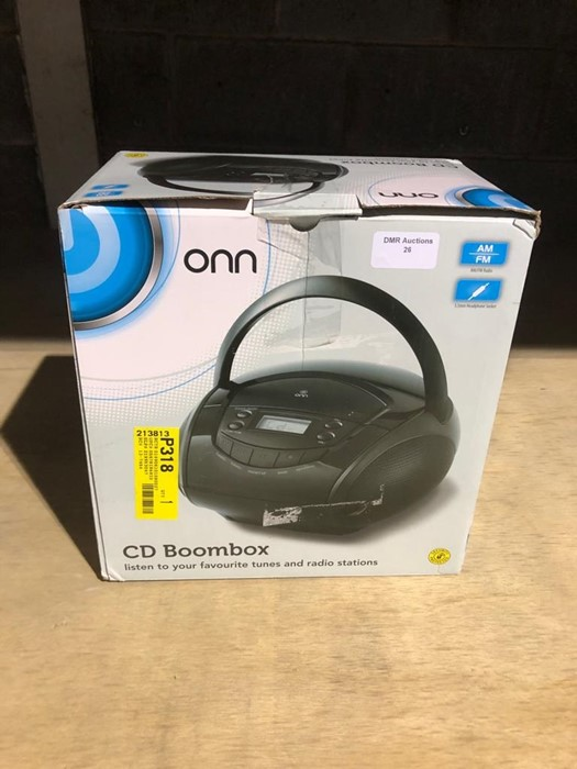 Lot 27 - 1 BOXED ONN CD BOOMBOX IN BLACK / RRP £20.00 - BL -3813 (VIEWING HIGHLY RECOMMENDED)
