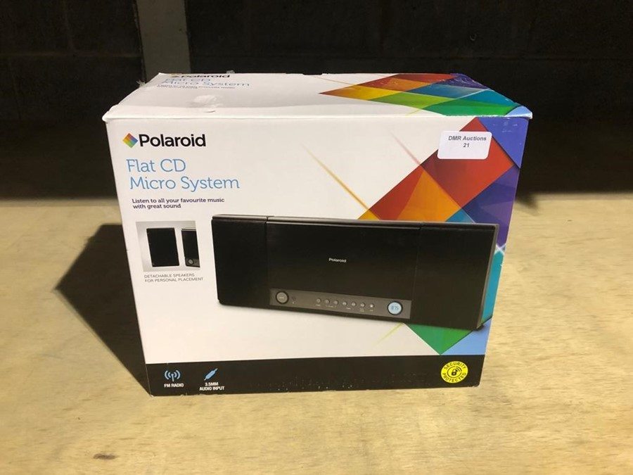 Lot 23 - 1 BOXED POLAROID FLAT CD MICRO SYSTEM IN BLACK / RRP £30.00 - BL -3813 (VIEWING HIGHLY RECOMMENDED)