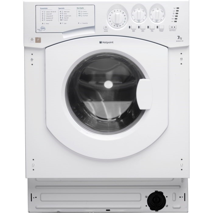 Lot 12 - 1 GRADE B INTEGRATED HOTPOINT 7KG WASHER, BHWM129 **SLIGHT DENT AND SCUFF TO FRONT LEFT** / RRP £