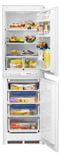 Lot 6 - 1 UNPACKAGED GRADE B UNTESTED HOTPOINT KHM FF FRIDGE FREEZER IN WHITE, SLIGHT DENTS TO DOORS AND TOP