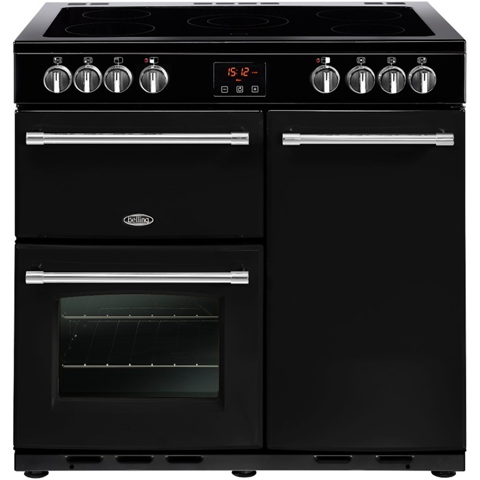 Lot 13 - 1 GRADE A BELLING FARMHOUSE 90E / 90CM BLACK ELECTRIC CERAMIC RANGE COOKER **NO POWER LEAD** /