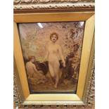 Victorian crystoleum depicting a naked lady
