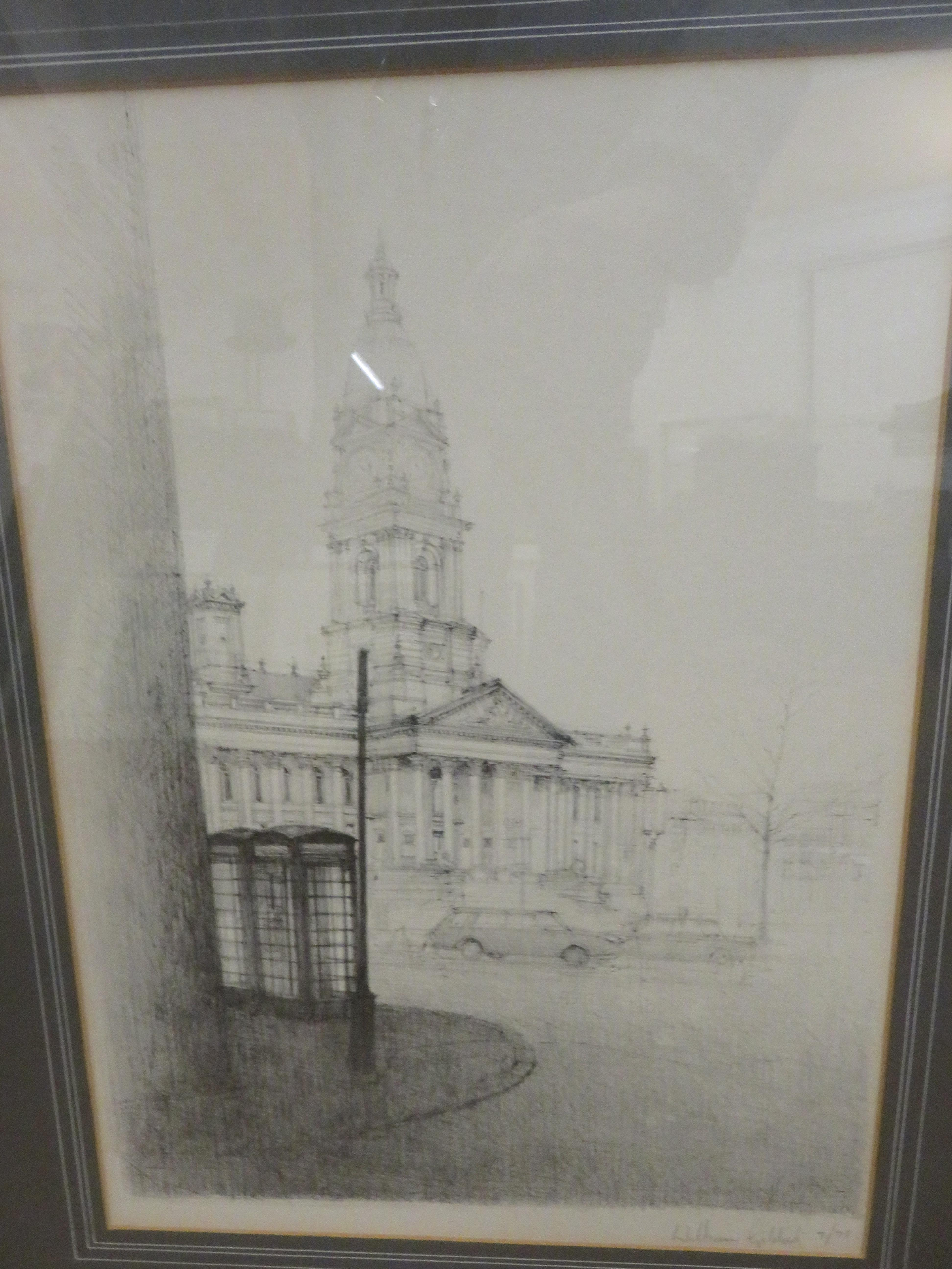 Limited edition print Bolton town hall signed Will