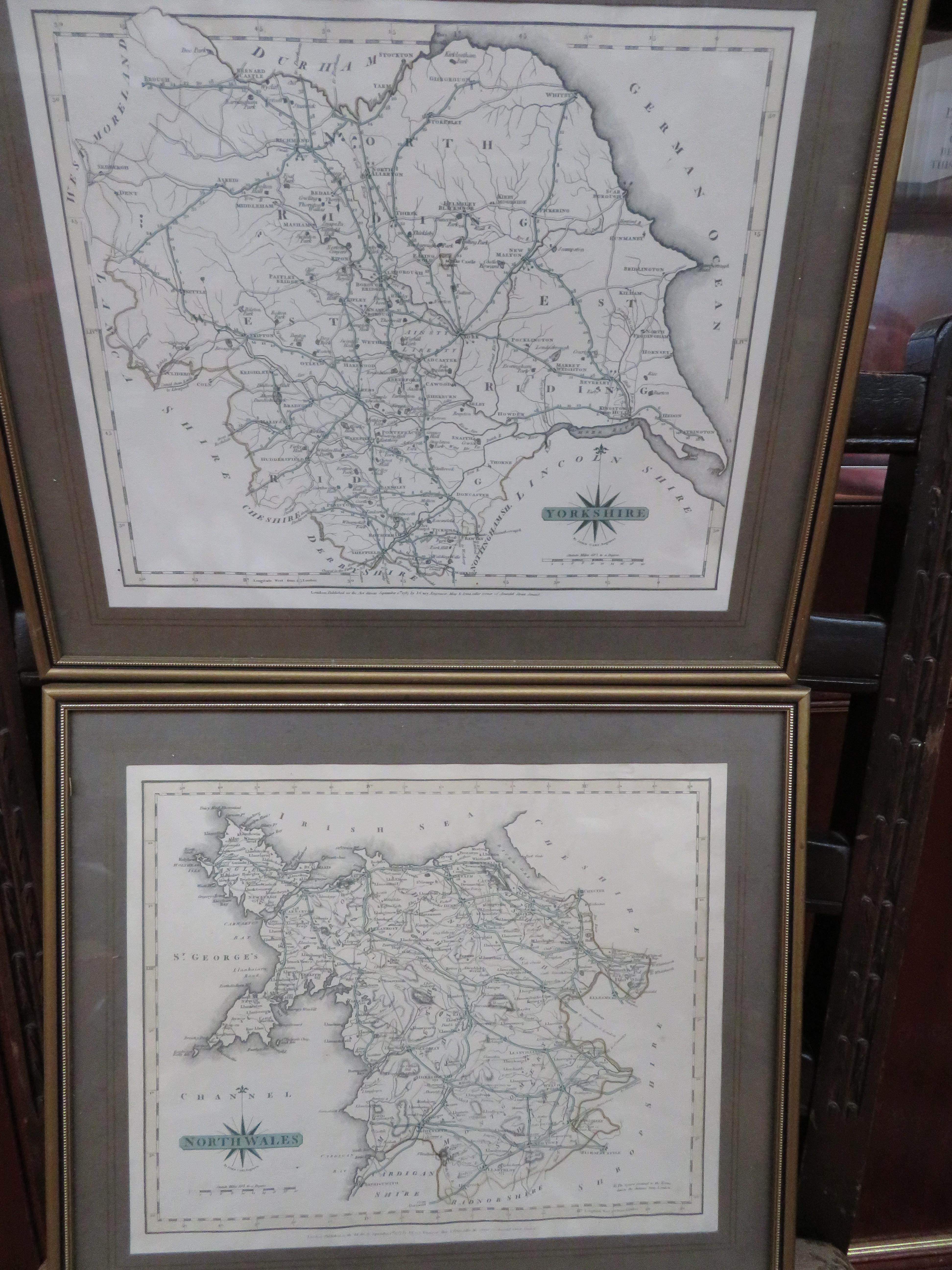 4x Early framed maps, Lancashire, Cheshire, Yorksh