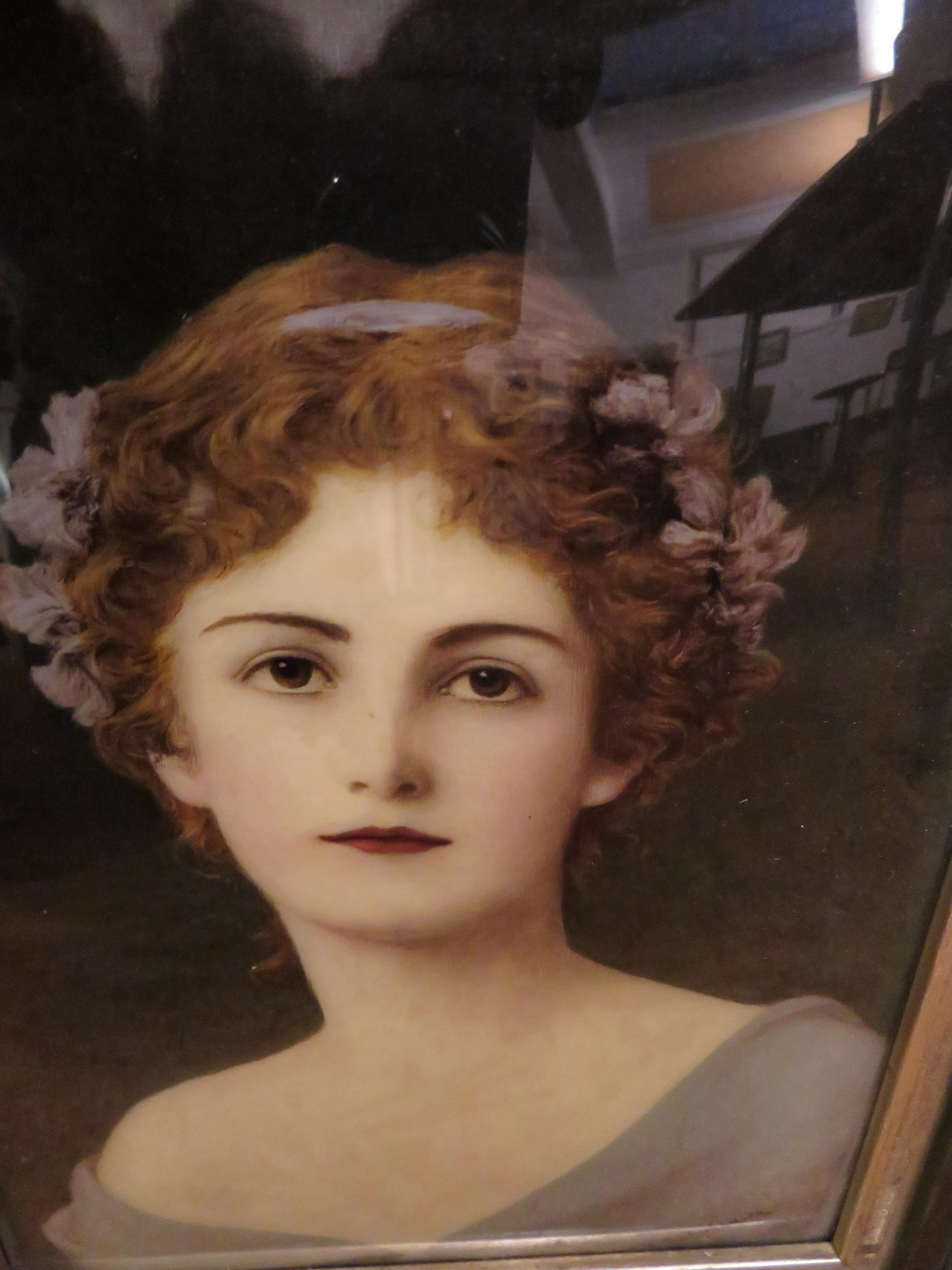 Framed crystoleum portrait of a lady signed lower