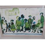 L.S Lowry signed lower right with blind stamp, Titled people standing about,faded colours 52 cm x 67