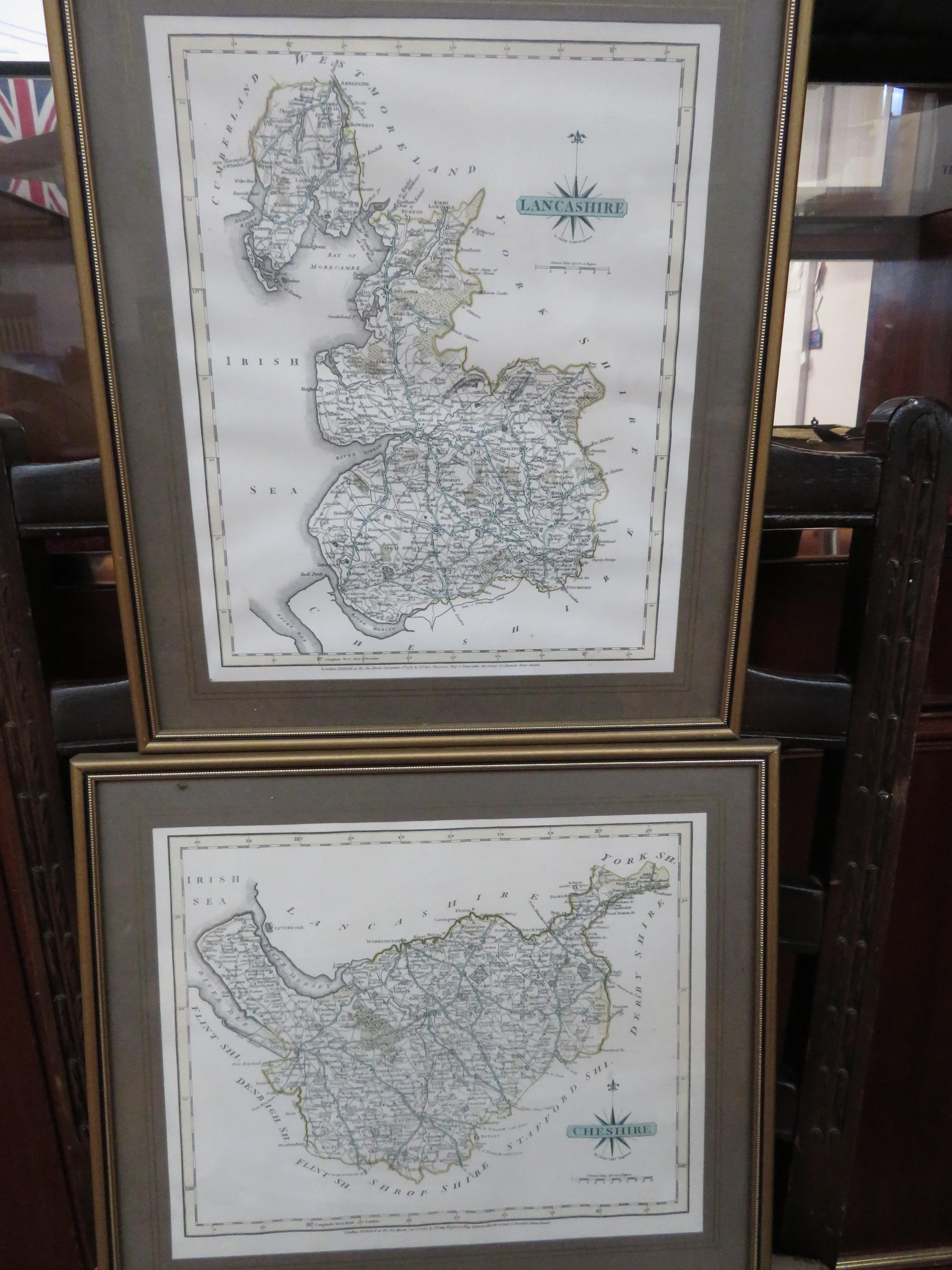 4x Early framed maps, Lancashire, Cheshire, Yorksh - Image 2 of 2