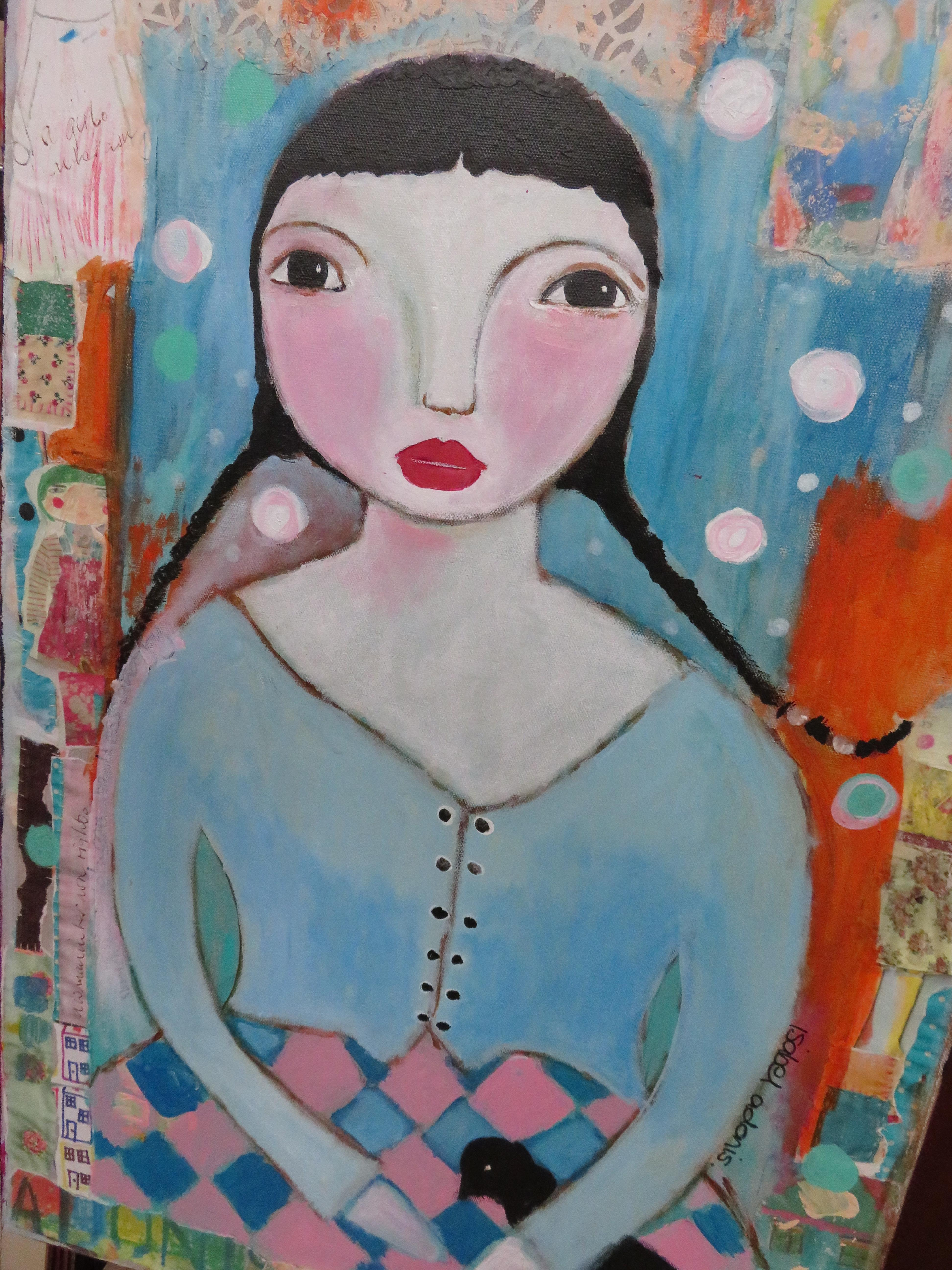 Oil on canvas mixed media painting by Isabel Adoni