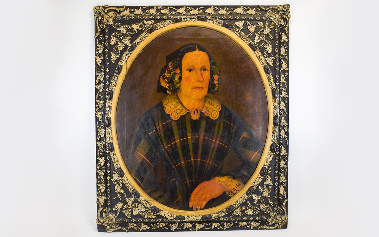 Lot 907 - 18th Century English Naive School Portrait Painting on Canvas of a Noble Lady,