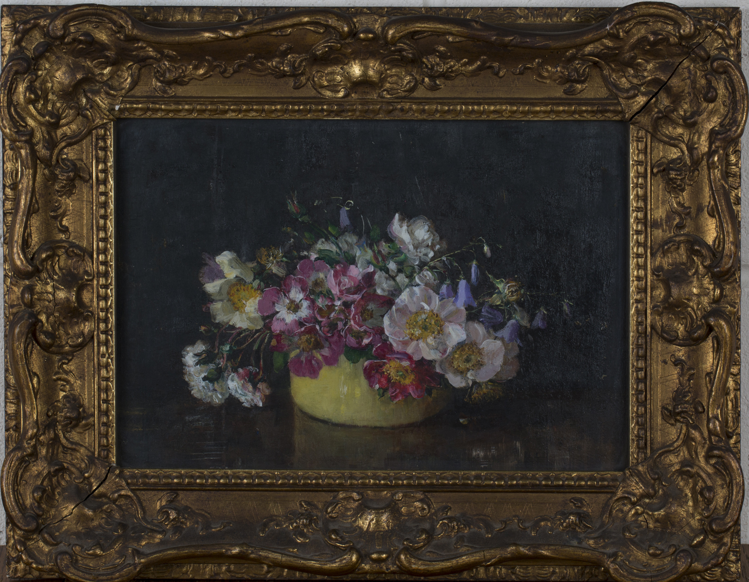 Emily Beatrice Bland - 'Single Roses in a Yellow Bowl', early 20th century oil on board, artist's - Image 2 of 5