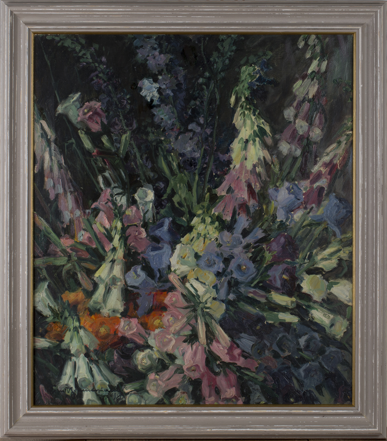 Lot 18 - Ernst Reinhard Zimmermann - 'Blumenstück', oil on canvas, signed and dated 1919 recto, titled verso,