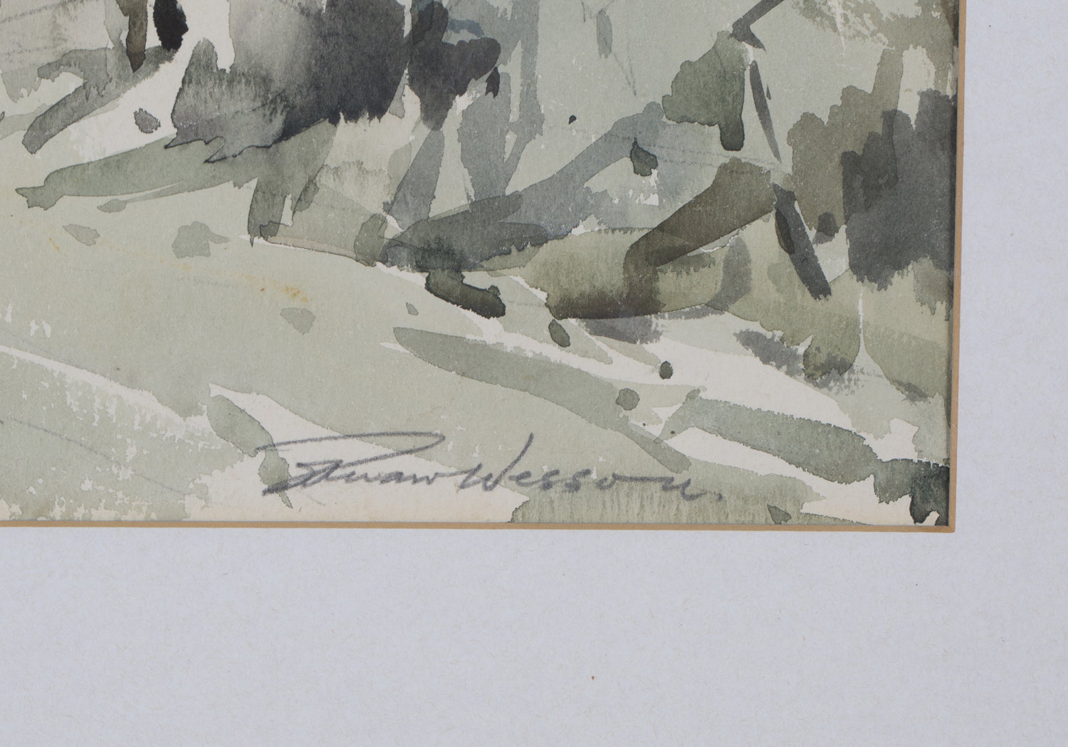 Lot 10 - Edward Wesson - Landscape with Industrial Buildings, 20th century watercolour, signed in pencil,