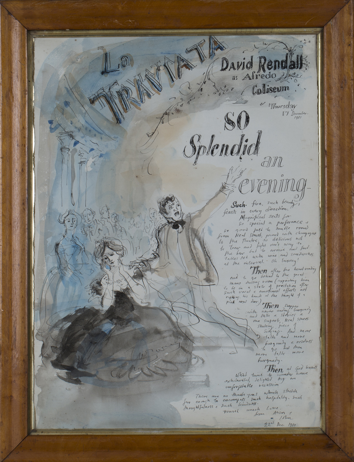 Lot 43 - John Stanton Ward - 'La Traviata', pen and ink with watercolour, signed and dated 1981, 44cm x 32cm,